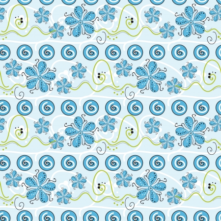 Abstract seamless with cute blue flowers Vector