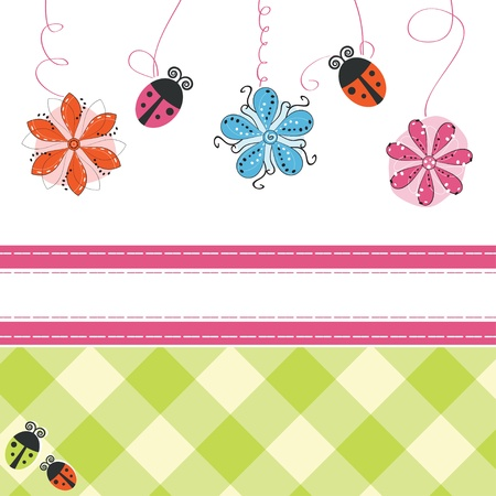 Greeting card with flowers and ladybirds  Vector