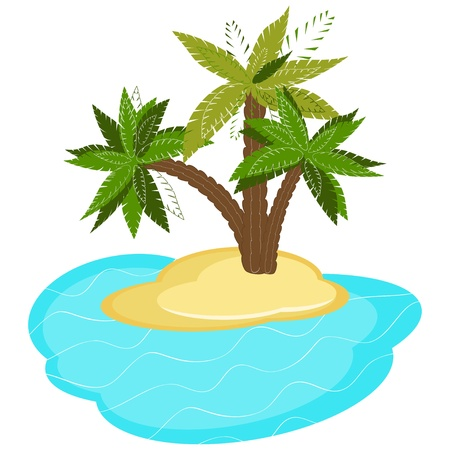 Palm trees on island isolated on white background