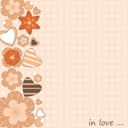 Greeting card with flowers and hearts