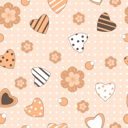 Abstract seamless pattern with hearts and flowers Illustration