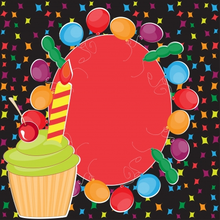 Happy Birthday greeting with cake and balloons Illustration