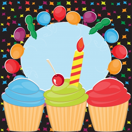 Happy Birthday greeting with cakes and balloons