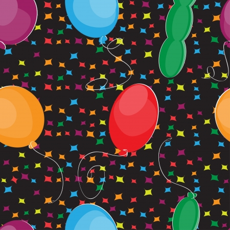 Happy Birthday with balloons seamless pattern Illustration