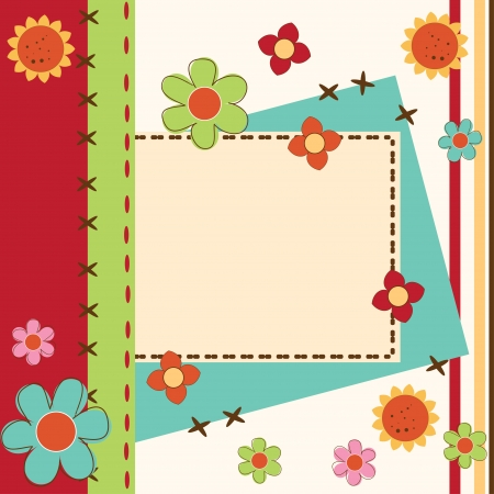 Card greeting or invitation with flowers