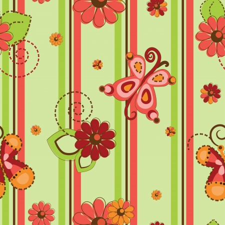 Flower and butteflies pattern seamless background Vector