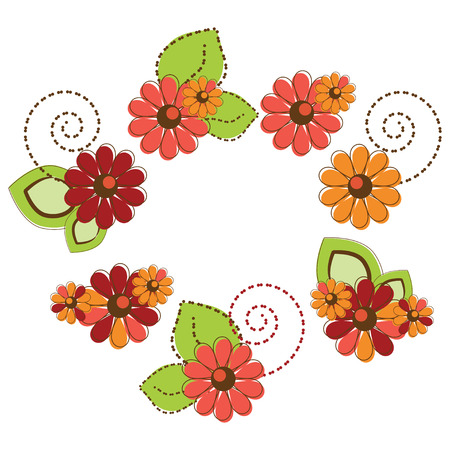 Set of cute colorful flowers Illustration
