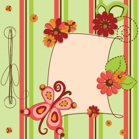 Greeting card with flowers and butterfly