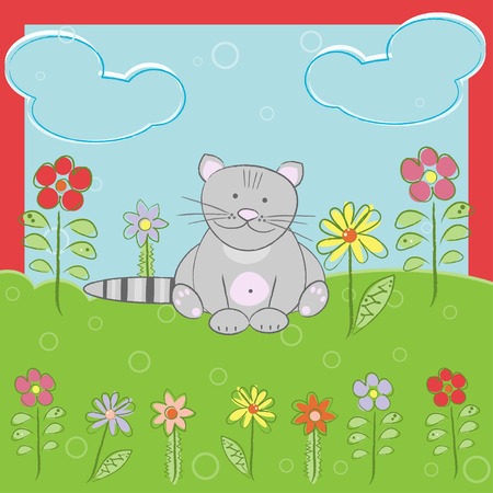 Greeting card with cute cat