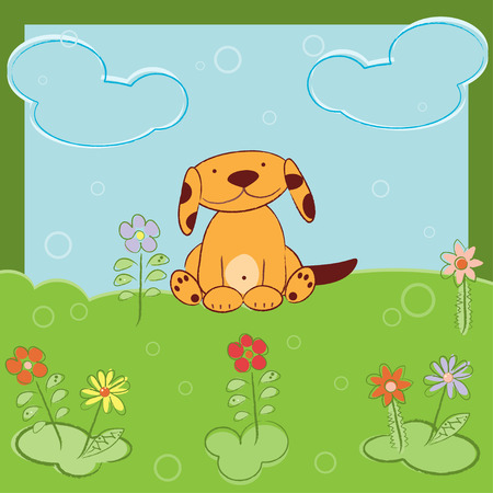 cute dog: Greeting card with cute dog