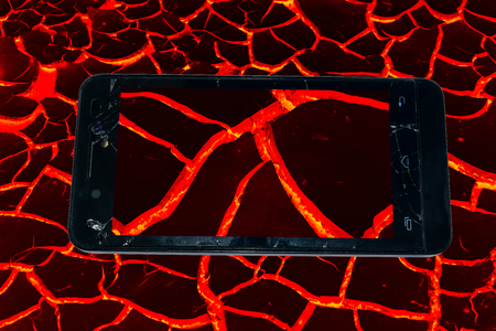texture of molten lava in Phone broken concept idea. on white background Stock Photo