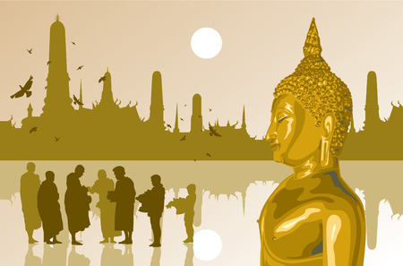 believes: The light of buddha on temple background Illustration