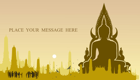 The light of buddha on temple background Vector