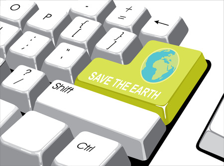 Social media concept: Enter button with save the earth on computer  Vector
