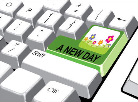 new day: Concetto di media sociali: pulsante Invio con un nuovo giorno sul computer