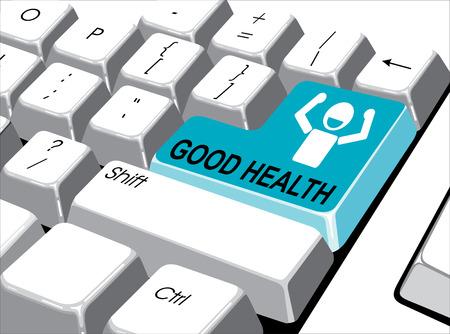 Concetto di social media: pulsante Invio con la buona salute sul computer Archivio Fotografico - 29262727