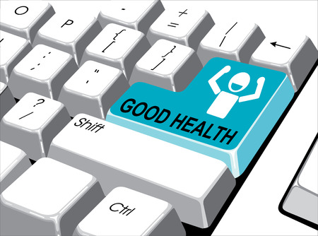computer health: Social media concept: Enter button with good health on computer  Illustration