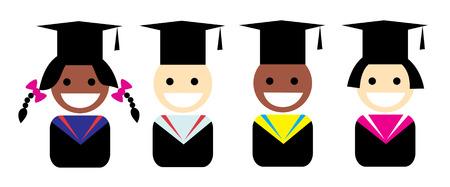 Stylized portrait of a graduate in the Graduation cap Vector