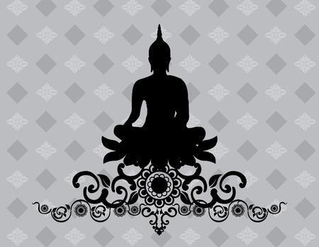 Silhouette of Thai Buddha Vector