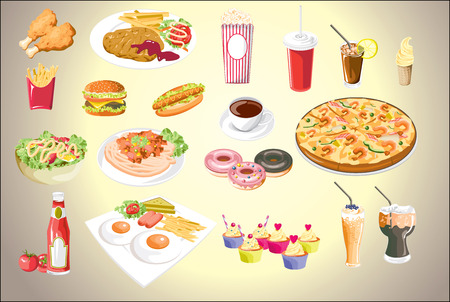 Set of colorful food icons.vector file eps10 Illustration