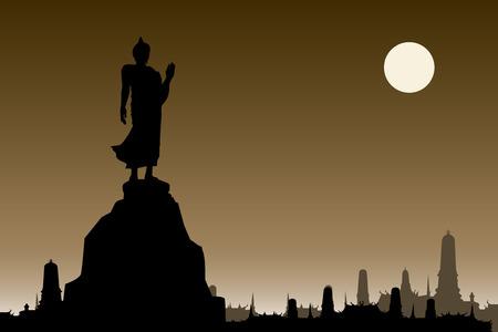 thai buddha: Silueta de Buda tailand�s en el fondo sepia y la ilustraci�n temple.vector tailand�s