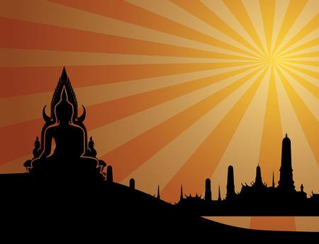 thai buddha: Silueta de Buda tailand�s sobre fondo naranja y la ilustraci�n temple.vector tailandesa Vectores