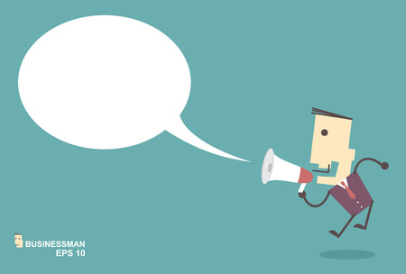 loud: Businessman vector speaking through megaphone with speech bubble for your text or your design.promotion marketing concept
