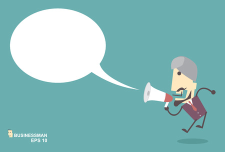 Business Muslim man vector speaking through megaphone with speech bubble for your text or your design.promotion marketing concept Vector