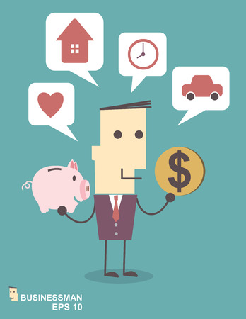 Businessman saving money in a piggy bank on blue background illustration vector file eps 10 Vector