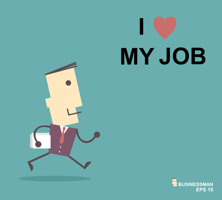Happy businessman. I love my job business concept. Vector illustration eps10 Ilustração