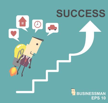 Businessman with a rocket go to succes. Vector illustration Eps10 file.Idea go to success concept