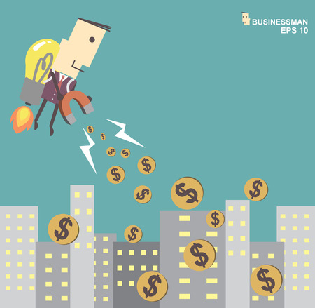 attract: Businessman with rocket using a magnet attract money from  the city. Vector illustration Eps10 file.Idea go to success concept Illustration
