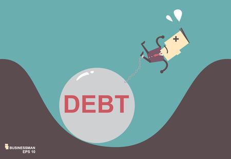 Business man burden with Debt illustration business vector file eps10