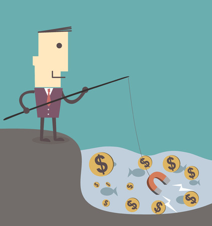 Businessman fishing money by magnet vector illustration eps10