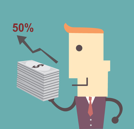 Business man with money , graph  and fifty percent Vector file illustration eps 10 Vettoriali