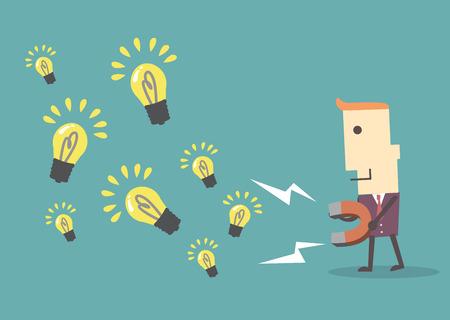 Homme d'affaires avec ampoule aimant de collecte, vecteur eps10 illustration fichier Banque d'images - 36650649