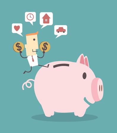 piggy bank: Businessman saving money in a piggy bank on blue background illustration vector file eps 10