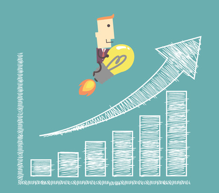 charting: businessman on light bulb flying to success charting a positive trend graph  illustration vector