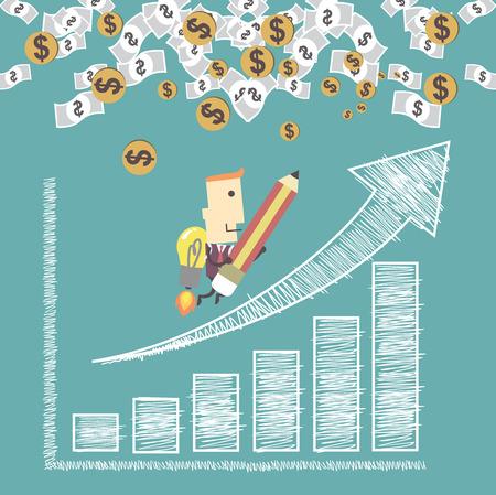 로켓 사업가 긍정적 인 추세 그래프 차트 succes에로 이동합니다. 일러스트