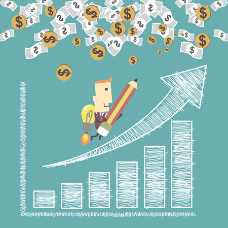 succes: Businessman with a rocket go to succes charting a positive trend graph.