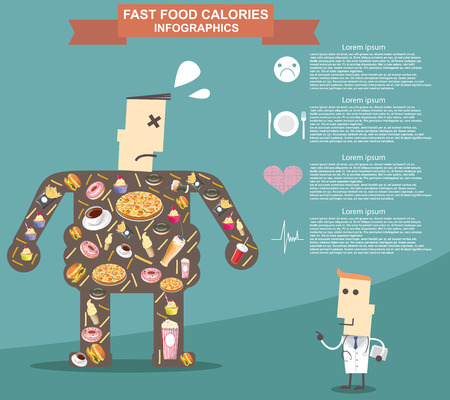 Fat man with doctor, fast food.  Illustration