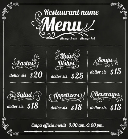Restaurant Food Menu Design with Chalkboard Background vector Vector