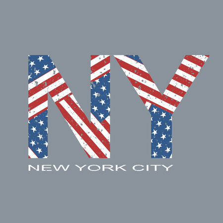 jersey: New york flag typography, t-shirt graphics