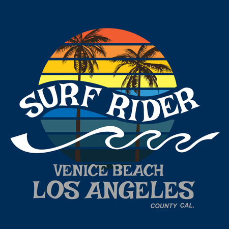 Surf rider California typography 版權商用圖片 - 37069191