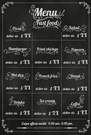 menu de postres: Dise�o del men� del restaurante de comida r�pida con el fondo de la pizarra en formato vectorial eps10