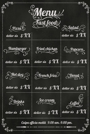 blackboard background: Restaurant fastfood Menu Design with Chalkboard Background vector format eps10