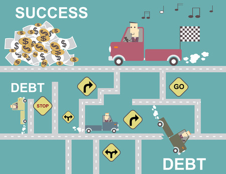 businessman in the car pick-up go to success  vector illustration eps10