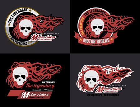 set of vector Motorcycle skull typography, t-shirt graphics, vector format eps10 Vector
