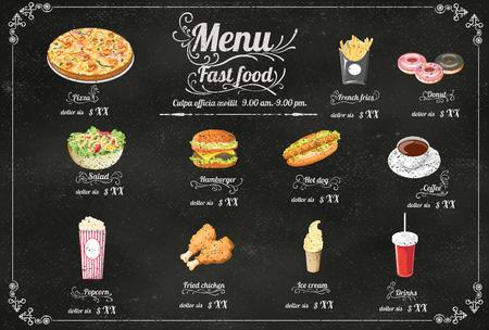 lunch: Men� del restaurante Fast food en formato vectorial pizarra Vectores