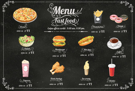 chicken dish: Restaurant Fast Foods menu on chalkboard vector format